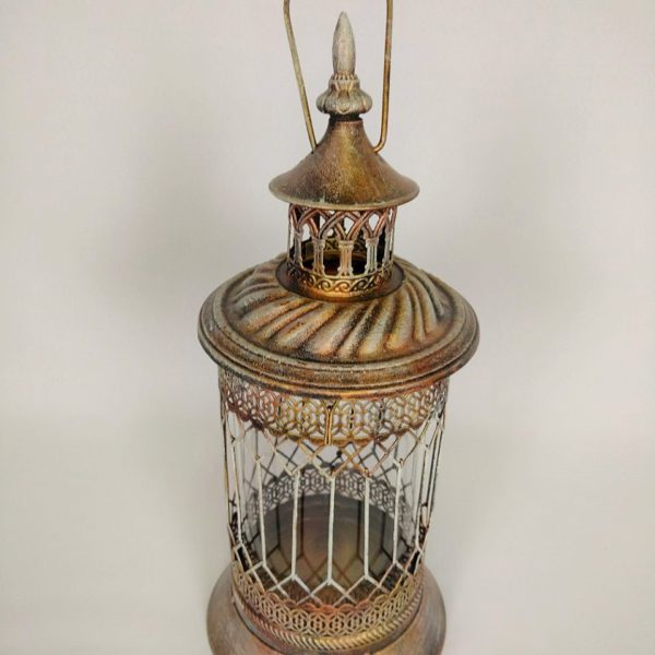 Lanterna em ferro com vido